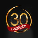 Template Gold Logo 30 Years Anniversary with Red Ribbon Vector Illustration. EPS10 Royalty Free Stock Photography