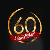 Template Gold Logo 60 Years Anniversary with Red Ribbon Vector Illustration. EPS10 Stock Images