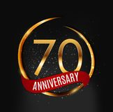 Template Gold Logo 70 Years Anniversary with Red Ribbon Vector Illustration. EPS10 royalty free illustration