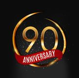 Template Gold Logo 90 Years Anniversary with Red Ribbon Vector Illustration. EPS10 Stock Images