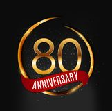 Template Gold Logo 80 Years Anniversary with Red Ribbon Vector Illustration. EPS10 Stock Photography