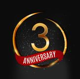 Template Gold Logo 3 Years Anniversary with Red Ribbon Vector Illustration. EPS10 Stock Photography