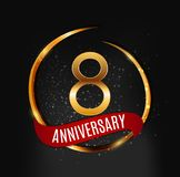 Template Gold Logo 8 Years Anniversary with Red Ribbon Vector Illustration. EPS10 Stock Image