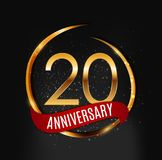 Template Gold Logo 20 Years Anniversary with Red Ribbon Vector Illustration. EPS10 Stock Photo