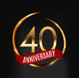 Template Gold Logo 40 Years Anniversary with Red Ribbon Vector Illustration. EPS10 Stock Photo