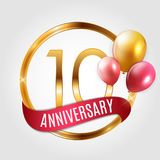 Template Gold Logo 10 Years Anniversary with Ribbon and Balloons Vector Illustration. EPS10 Stock Images
