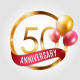 Template Gold Logo 50 Years Anniversary with Ribbon and Balloons Vector Illustration. EPS10 Stock Photo