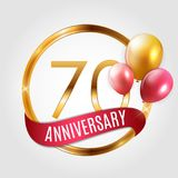 Template Gold Logo 70 Years Anniversary with Ribbon and Balloons Vector Illustration. EPS10 Stock Images