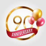 Template Gold Logo 90 Years Anniversary with Ribbon and Balloons Vector Illustration. EPS10 Stock Image