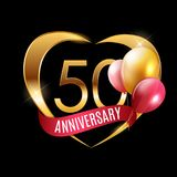 Template Gold Logo 50 Years Anniversary with Ribbon and Balloons Vector Illustration. EPS10 Royalty Free Stock Photos