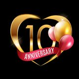 Template Gold Logo 10 Years Anniversary with Ribbon and Balloons Vector Illustration. EPS10 royalty free illustration