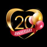 Template Gold Logo 20 Years Anniversary with Ribbon and Balloons Vector Illustration. EPS10 Royalty Free Stock Photo