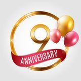 Template Gold Logo 9 Years Anniversary with Ribbon and Balloons Vector Illustration. EPS10 Stock Photos