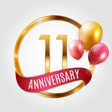Template Gold Logo 11 Years Anniversary with Ribbon and Balloons Vector Illustration. EPS10 royalty free illustration