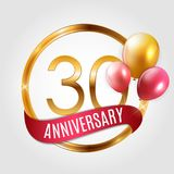 Template Gold Logo 30 Years Anniversary with Ribbon and Balloons Vector Illustration. EPS10 Stock Photos