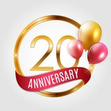 Template Gold Logo 20 Years Anniversary with Ribbon and Balloons Vector Illustration. EPS10 Stock Image