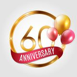 Template Gold Logo 60 Years Anniversary with Ribbon and Balloons Vector Illustration. EPS10 stock illustration