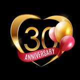 Template Gold Logo 30 Years Anniversary with Ribbon and Balloons Vector Illustration. EPS10 Royalty Free Stock Photos