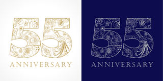55 years old luxurious celebrating folk numbers. Template gold, silver colored fifty five happy anniversary 55th greetings, ethnics flowers, plants, paradise Royalty Free Stock Photo