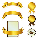 Template of gold tapes and medals Stock Photo
