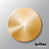Template of golden disk or button. Template of round metal disk or button with golden texture isolated on gray scale background royalty free illustration