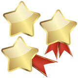 Template golden star with ribbons Stock Images