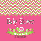 Template greeting card -  baby shower, vector Royalty Free Stock Images