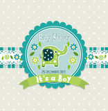 Template greeting card -  baby shower Royalty Free Stock Image