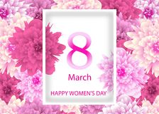 Template Greeting card with background flowers March 8 International Women`s Day. Vector. Illustration Royalty Free Stock Photos
