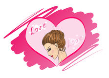Template for greeting card or business card with girl and drawing a heart shape. Stock Photo