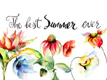 Template for greeting card with calligraphy with title the best. Summer ever, watercolor illustration Royalty Free Stock Photo