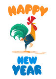 Template greeting card for  Chinese New Year with cute cartoon rooster. Vector illustration Stock Image