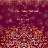 Template greeting card design decorated with shiny golden pattern in oriental style Stock Images