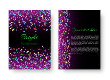 Template greeting card with falling confetti. Template greeting card with soaring confetti on purple background for festive design Royalty Free Stock Images
