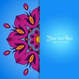 Template of greeting card with flower. Royalty Free Stock Image