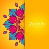 Template of greeting card with flower. Royalty Free Stock Images