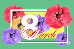 Template Greeting card with flowers March 8 International Women`s Day. Vector. Illustration royalty free illustration