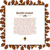 Template greeting card with frame of autumn oak Stock Photo