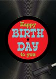 Template greeting card happy birthday on vinyl Stock Photo