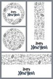 Template for greeting card. Happy New Year lettering. Template for greeting card. Happy New Year calligraphy lettering. Gingerbread, candy, serpentine, rocket Stock Photography