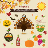 Template greeting card with a happy Thanksgiving turkey, vector Stock Photo