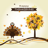 Template greeting card with a happy Thanksgiving turkey, vector Stock Image