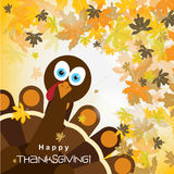 Template greeting card with a happy Thanksgiving turkey, vector Royalty Free Stock Photo