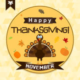 Template greeting card with a happy Thanksgiving turkey, vector Stock Images
