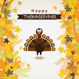 Template greeting card with a happy Thanksgiving turkey, vector Royalty Free Stock Image