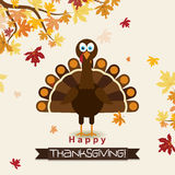 Template greeting card with a happy Thanksgiving turkey, vector Royalty Free Stock Images