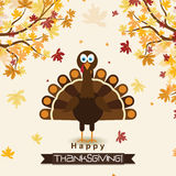 Template greeting card with a happy Thanksgiving turkey, vector Stock Photos