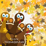 Template greeting card with a happy Thanksgiving turkey Royalty Free Stock Image
