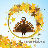 Template greeting card with a happy Thanksgiving turkey Stock Photography