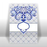 Template greeting card or invitation with blue ornament with flowers and birds. Imitation of Chinese porcelain painting. Royalty Free Stock Photos